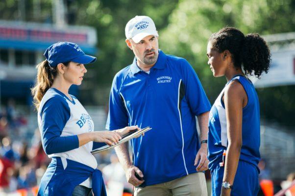 Coach Harrison (Alex Kendrick), Amy Harrison (Shari Rigby) and Hannah Scott (Aryn Wright-Thompson) talk strategy before a track meet. (Photo: Affirm Films)