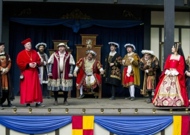King Henry VIII and his court on stage at the 2018 Maryland Renaissance Festival. (PHoto: Keith Heffner)