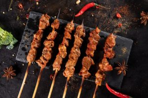 Meat on skewers displayed on a piece of slate. (Photo: Chinese Street Market Pop-Up)