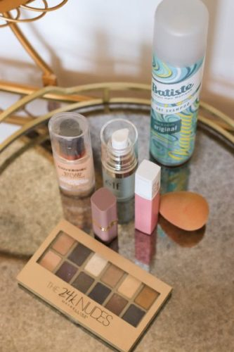 The makeup itmes features in this post on a tray on a makeup table. (Photo: Stefanie Degreaf)