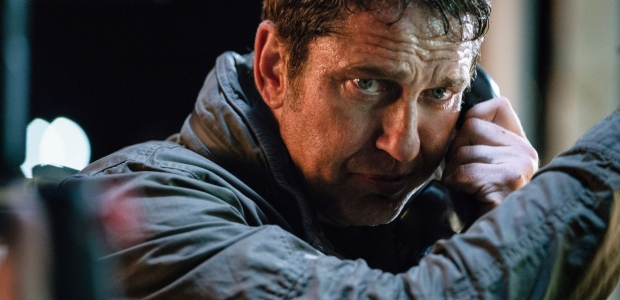 Mike Banning (Gerard Butler) talks on a pay phone in Angel Has Fallen. (Photo: Simon Versano/Lionsgate Films)