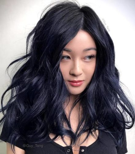 Woman with midnight denium colored hair. (Photo: Guy Tang)