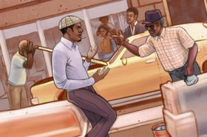 Two cab drivers talking in from of the taxi cab garage. (Illustration: Chales Chaisson)