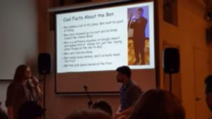 A women presents a 3-minite Powerpoint presentation on why the audience should date her friend, Ben. (Photo: Emily Ford)
