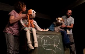 A man and woman with large male and female puppets that are sitting down holding hands. (Photo: Eurpoean Union)