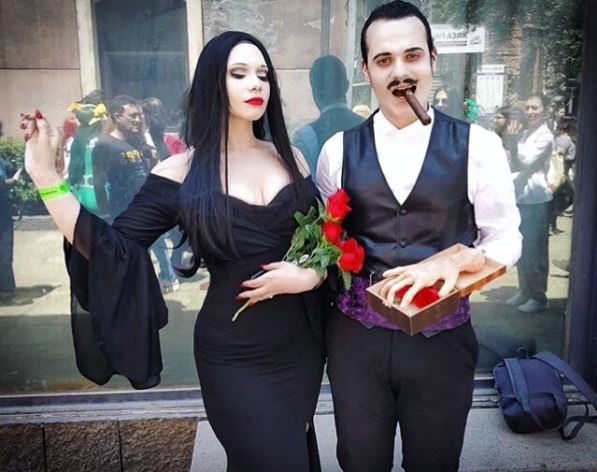 Morticia and Gomez Addams from <em>The Addams Family</em> (Photo: miss.sharonvongates/Instagram)