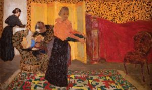 """""""Interior with a Red Bed"""" by Edouard Vuillard is a picture of three women in a bedroom with a bed covered in a red bedspread. (Photo: The Phillips Collection)"""