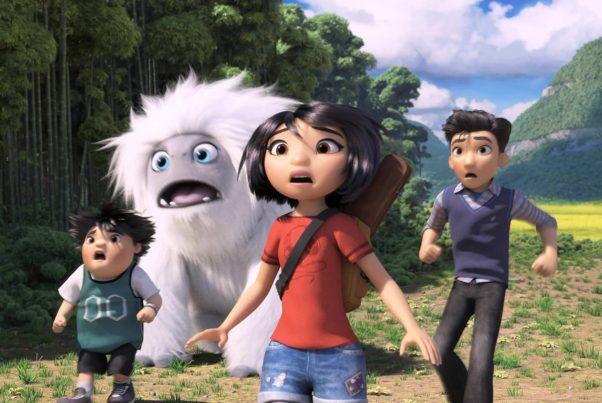 Peng (Albert Tsai), Yi (Chloe Bennet) and Jin (Tenzing Norgay Trainor) (l to r) help Everst (Joseph Izzo), a yeti, get home. (Photo: Dreamworks Animation)