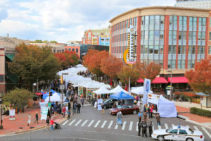 Artists' booth line Woodmont Avenue in Bethsday. (Photo: Bethesda Row Arts Festival)