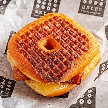 A grilled cheese and bacon sandwich on a doughnut. (Photo: Scott Suchman)