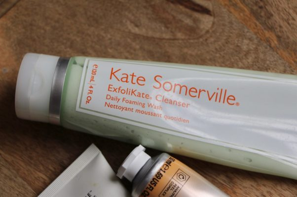 Kate Somerville ExfoliKate Cleanser laying on a wooden counter. (Photo: Ruth Crilly)