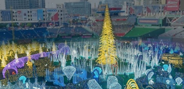 Enchant set up in Nats Park with a giant Christmas tree and throusands of lights decorating the stadium. (Photo: Enchant)