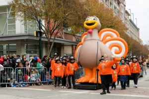 A giant turkey balloon in the 2018 parade. (Photo: Marketa Ebert)