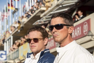 Carroll Shelby (Matt Damon) and Ken Miles (Christian Bale) stand in the pit at Le Mans watching the race. (Photo: 20th Century Fox)