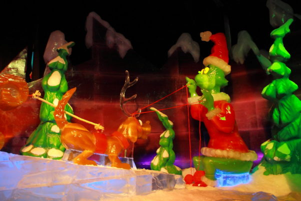 The Grinch dressed as Santa and his dog as a reindeer carved from blocks of ice. (Photo: Gaylord National)