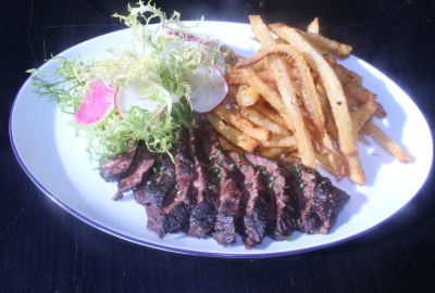 Steak frites on a place with a small salad. (Photo: Mark Heckathorn/DC on Heels)
