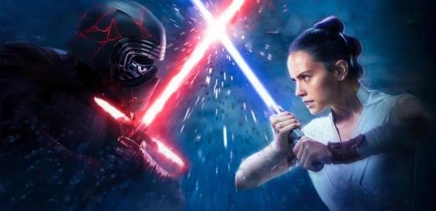 Kylo Ren (Adam Driver) and Rey (Daisy Ridley) battle with light sabers. (Photo: Walt Disney Studios)