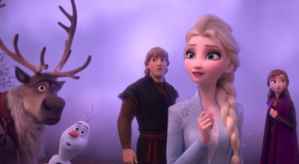 Sven, Olaf, Kristoff, Elas and Anna (l to r) stare at something off to the left. (Photo; Walt Disney Studios)