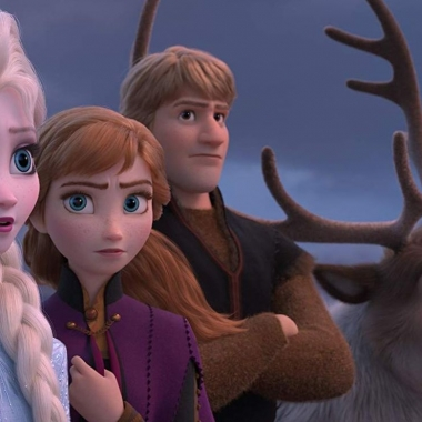 Elsa, Anna, Kristoff and Sven (l to r) look off to the right. (Photo: Walt Disney Studios)