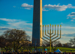 The National Menorah with the Washington Monument in the background. (Photo: Destination D.C.)