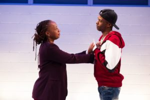 "Nya (Andrea Harris Smith) and Omari (Justin Weaks) talk face-to-face in ""Pipeline."" (Photo: C. Stanley Photography)"