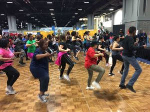 People doing aerobics at the 2019 expo. (Photo: NBC 4)