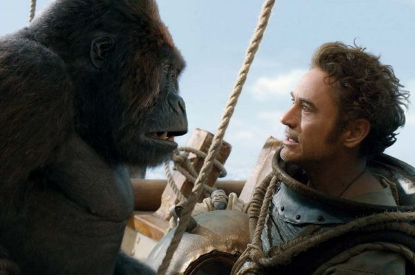 Dr. Dolittle (Robert Downey Jr.) with Chee-Chee the gorilla (voiced by Remi Malek). (Photo: Universal Pictures)