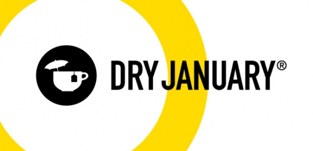 Dry January black & yellow logo with a tea cup holding a tea back and a cocktail umbrella. (Graphic: Alcohol Change UK)