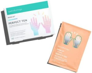 A packet of Patchology Perfect Ten Self-Warming Hand Mask beside the box it came in. (Photo: Patchology)