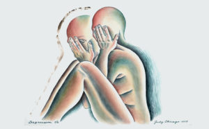 Judy Chicago, Stages of Dying 5/6: Depression, from The End: A Meditation on Death and Extinction is a woman holding her head with her hands in several overlapping positions.  (Photo: Donald Woodman/ARS, NY)
