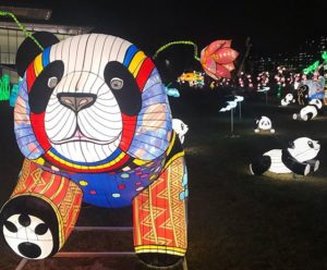 One large panda and several small panda winter lanterns outside the Reach. (Photo: Kid Friendly D.C./Instagram)