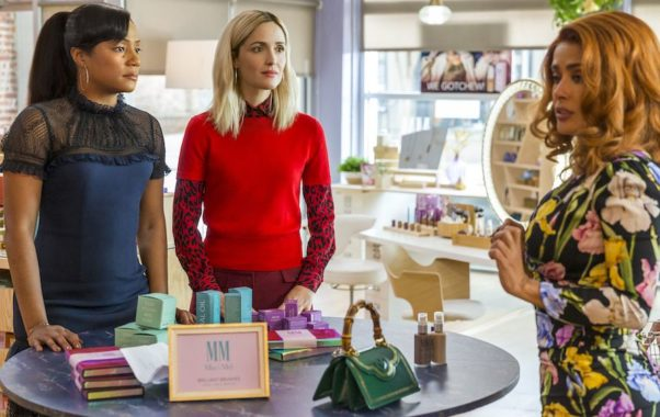 Mia (Tiffany Haddish) and Mel (Rose Byrne) meet with Claire Luna (Salma Hayek) in their cosmetics store. (Photo: Paramount Pictures)