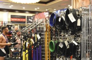 Shoppers look at leather wears available at the Leather Market including collars and floggers. (Photo: Metro Weekly)