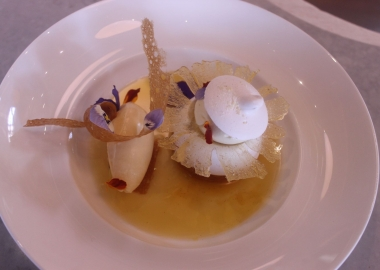 Pavlova with roasted pineapple compote, ginger crémeux and passionfruit sorbet . (Photo: Mark Heckathorn/DC on Heels)