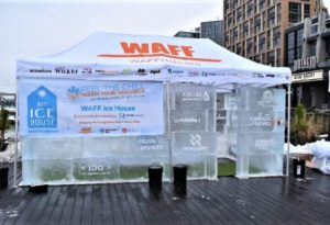 The WAFF Ice House made out of blocks of ice with a canopy for a roof. (Photo: The Wharf)