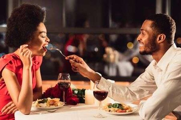 African American man feeding girlfriend during dinner. (Photo: 123rf)