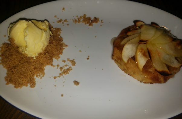 Apple galette with almond frangipane and brie ice cream. (Photo: Mark Heckathorn/DC on Heels)