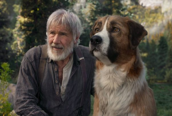 John Thornton (Harrison Ford, left) and Buck, a half Saint Bernard dog. (Photo: 20th Century Studios)