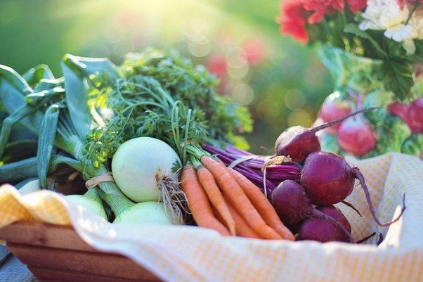 A basket filled with green onions, carrots and beets. (Photo: Jill Wellington/Pixabay)