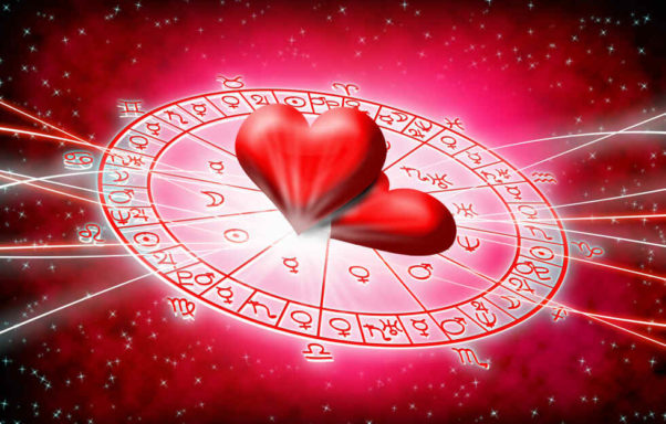 Pink drawing of the zodiac wheel with two hearts in the center. (Graphic: Shutterstock)