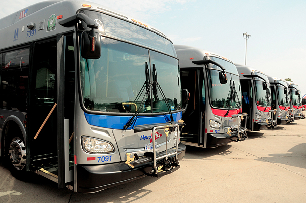 A line of parked Metrobuses. (Photo: WMATA)