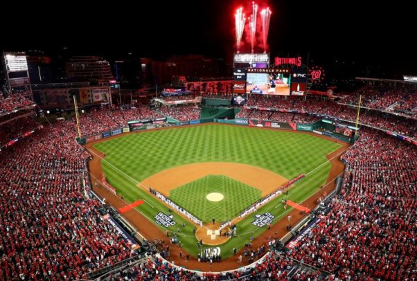 Shot of the Nationals Park field with full stands and fireworks going off over the scoreboard. (Photo: Washington Nationals)