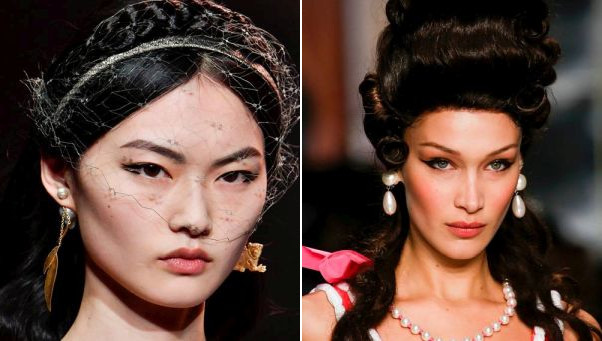 Cleopatra -style eyeliner was big with Dior in Paris (left) and Moschino in Milan. (Photos: Getty Images)