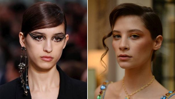 Bedazzled eyes were seen on the runways of Valentino in Paris (left) and Rixo in London. (Photos: Getty Images)