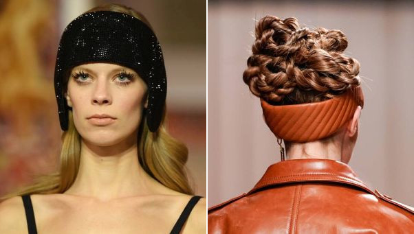 Headbands were hot with Lanvin in Paris (left) and Fendi in Milan. (Photos: Getty Images)