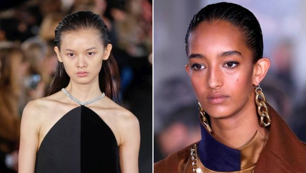 The wet look was hot at David Koma's show in London (left) and Sacai's Paris show. (Photos: Getty Images)