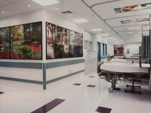 Hospital beds in the newly remoded cardiology wing at the Medstar Washington Hospital Center. (Photo: Forrester Construction)
