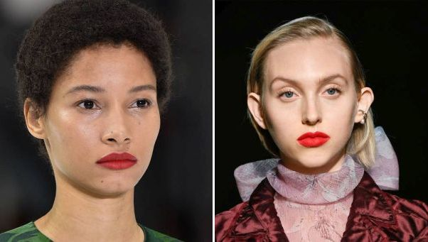 Firey lips seen on models for Carolina Herrera (left) and the Jason Wu Collection both in New York. (Photos: Getty Images)