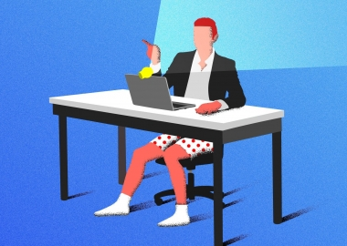 Illustration of a man video chatting with a shirt and sport coat on but not pants, only boxers. (Graphic: Getty Images)