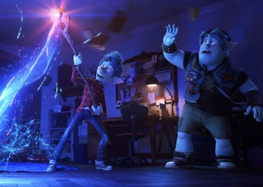 Ian Lightfood (Tom Holland) holds a staff and performs a magic spell that will bring his father back for a day while brother Barley (Chris Pratt) watches. (Photo: Walt Disney Studios/PIxar)